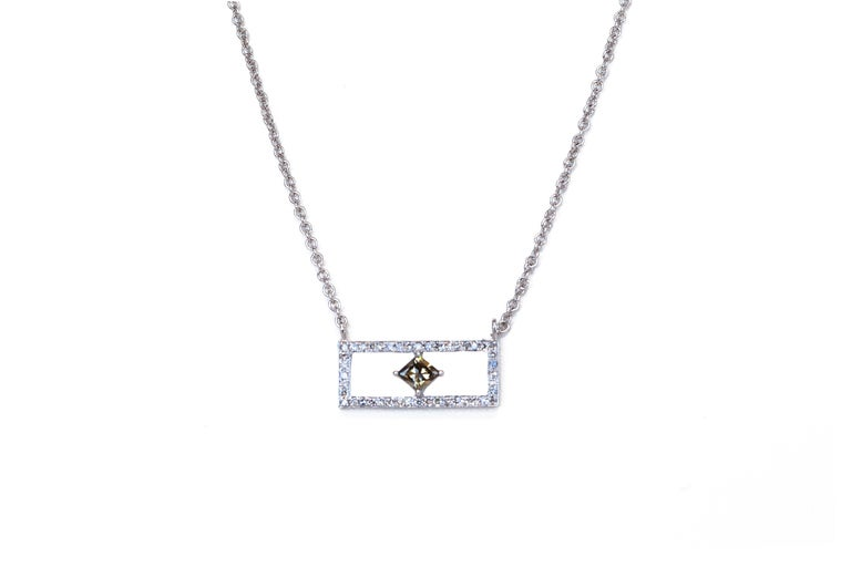 Rectangular Diamond Bar Necklace In New Condition For Sale In Houston, TX