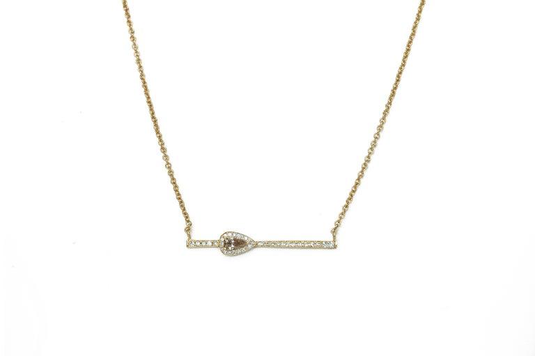 Women's Rectangular Diamond Bar Necklace For Sale