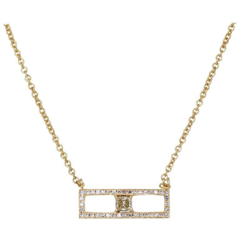 Rectangular Diamond Bar Necklace For Sale