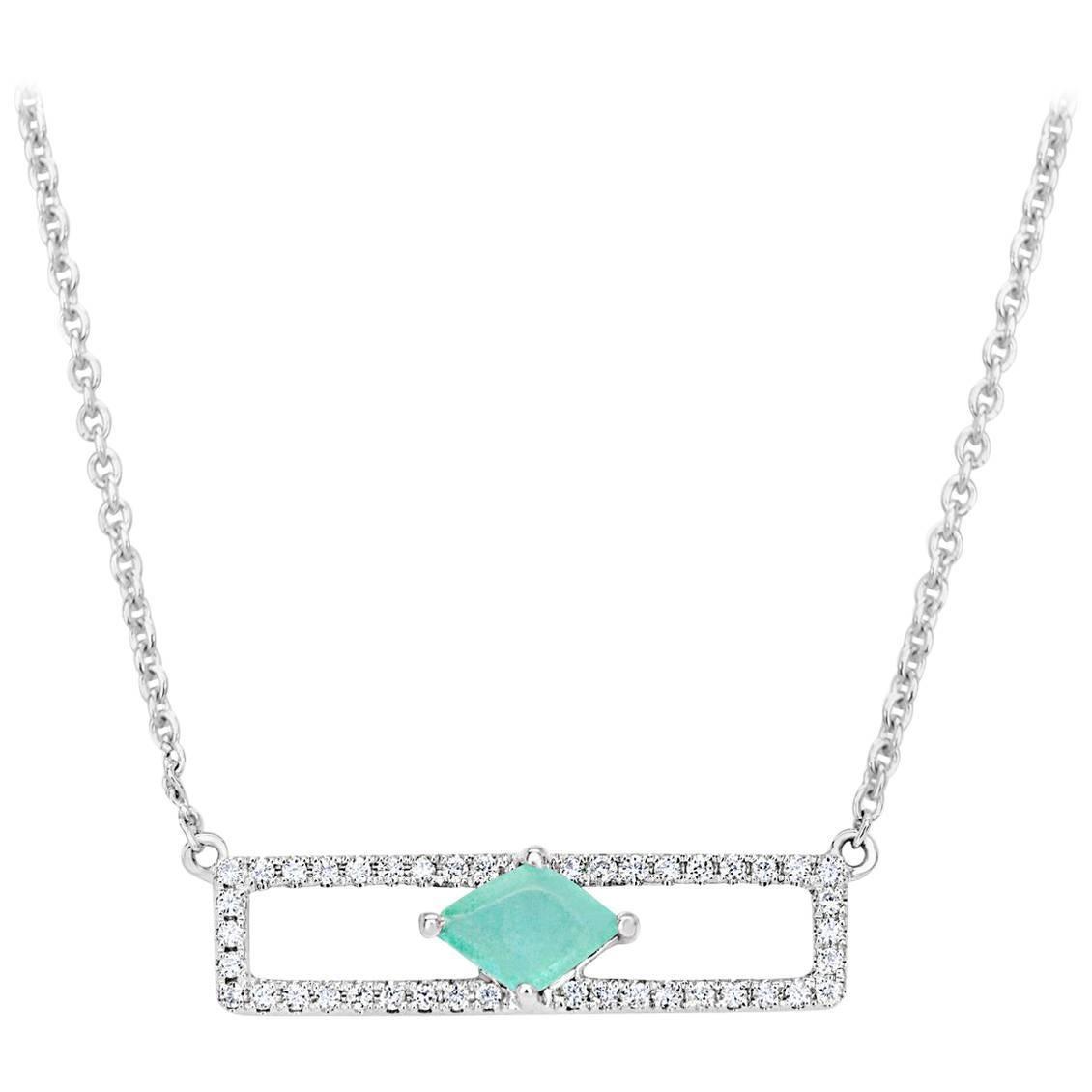 Rectangular Diamond Bar with Emerald Necklace