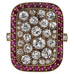 Rectangular Diamond Cobblestone Ring with Ruby Surround in 18 Karat Yellow Gold