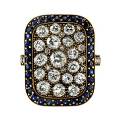 Rectangular Diamond Cobblestone Ring with Sapphire Surround in 18 Karat Gold