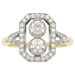 Rectangular Diamond Plaque Ring