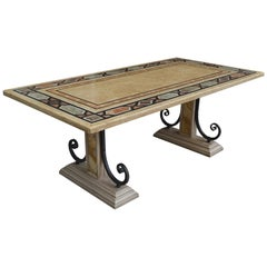 Rectangular Dining Table Inalied Marbles Wrought Iron Details Antique Finishing