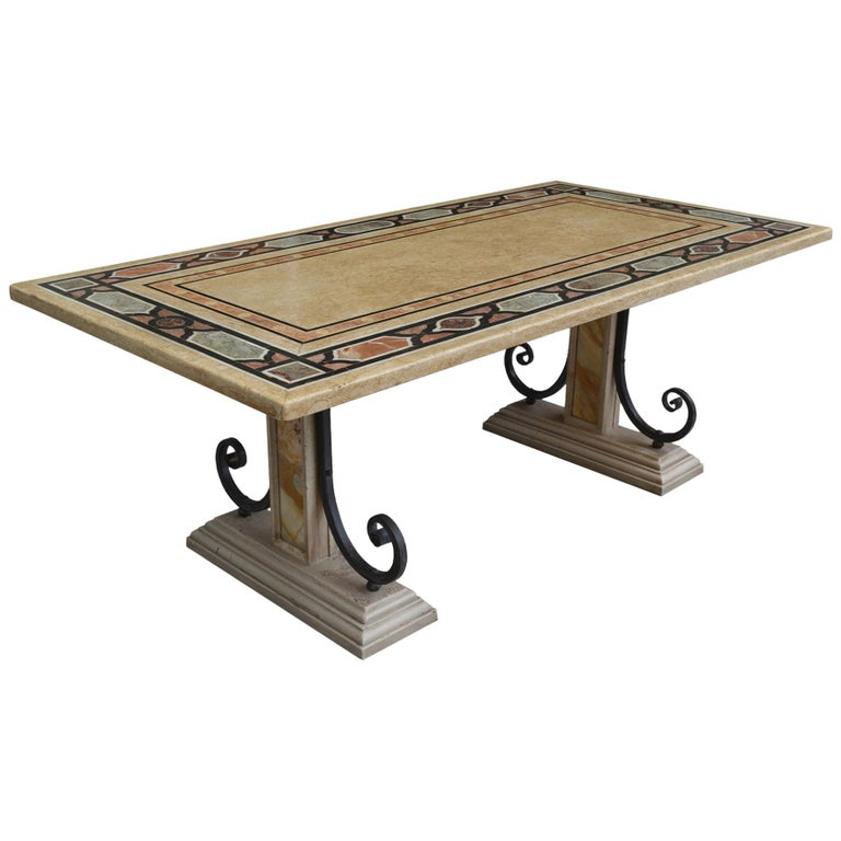 Rectangular Dining Table Inalied Marbles Wrought Iron Details Antique Finishing For Sale