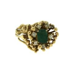 Rectangular Emerald and Diamond Yellow Gold Spike Ring