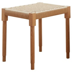 Rectangular Field Stool in White Oak with Danish Cord
