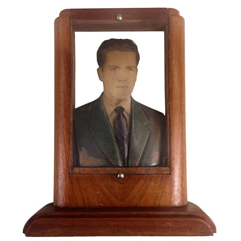 Rectangular Fotoescultura of Man in Gray Suit and Purple Tie For Sale