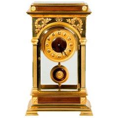 Rectangular Four-Glass Ormolu Mantel Clock