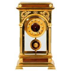 Rectangular Four Glass Ormolu Mantel Clock, Signed Blanpain