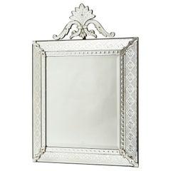 Rectangular French Crested Venetian Style Mirror, circa 1900