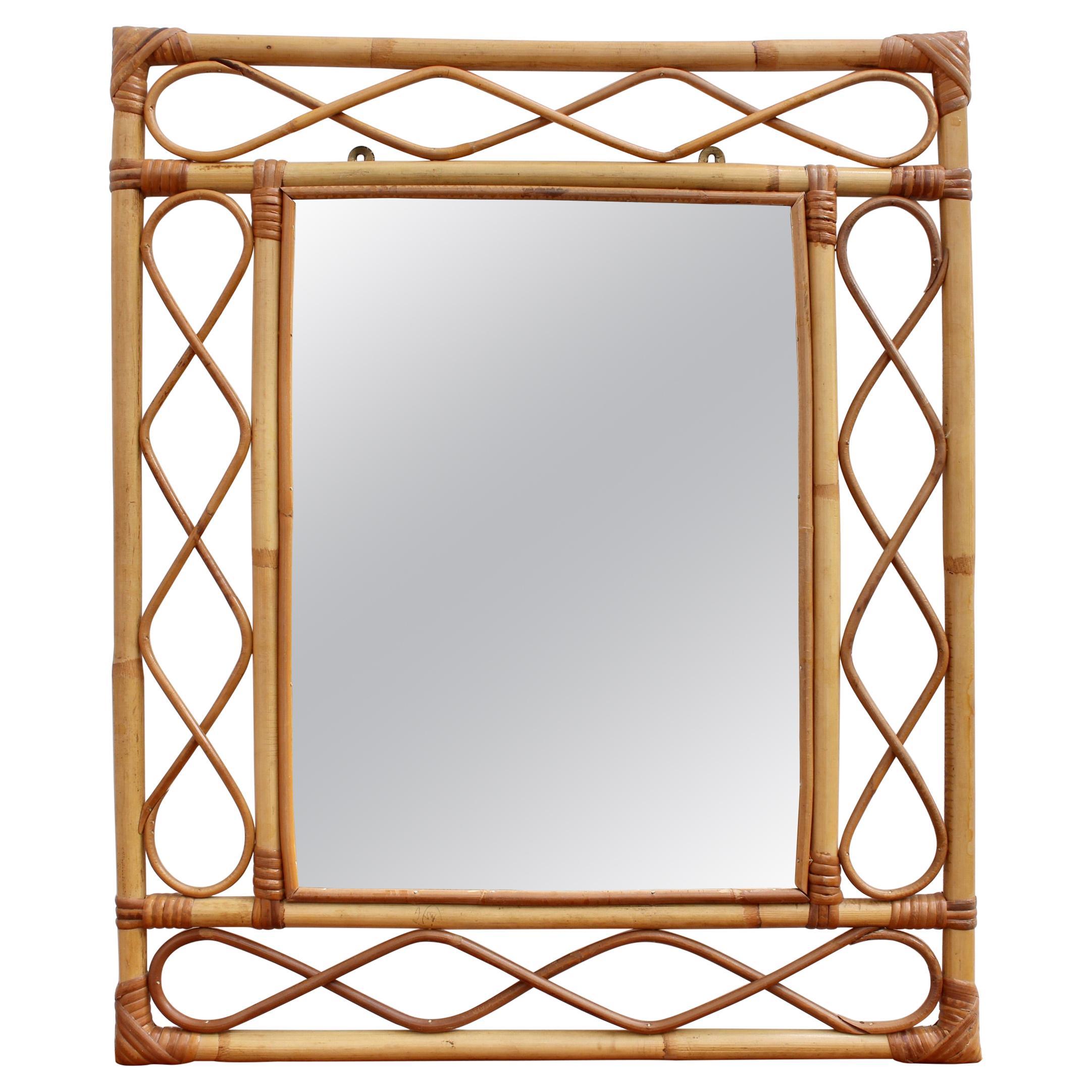 Rectangular French Rattan Wall Mirror 'circa 1960s'