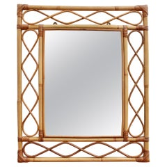 Rectangular French Rattan Wall Mirror 'circa 1960s'