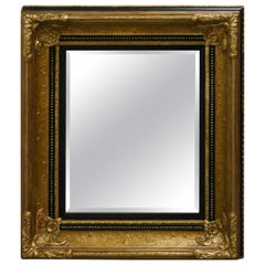 Rectangular Gilt and Black Rococo Wall Mirror