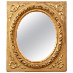 Rectangular Giltwood French Frame with Oval Mirror