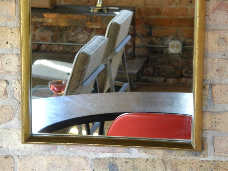 Mid-Century Modern Rectangular Giltwood Wall Mirror with Arched Top For Sale