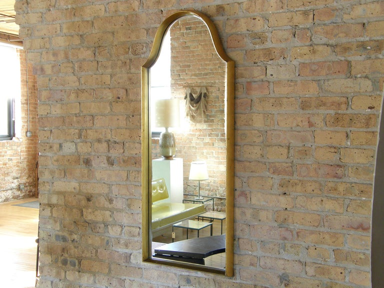 Rectangular Giltwood Wall Mirror with Arched Top In Good Condition For Sale In Chicago, IL