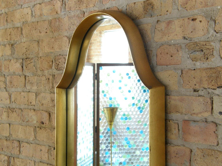 Mid-20th Century Rectangular Giltwood Wall Mirror with Arched Top For Sale