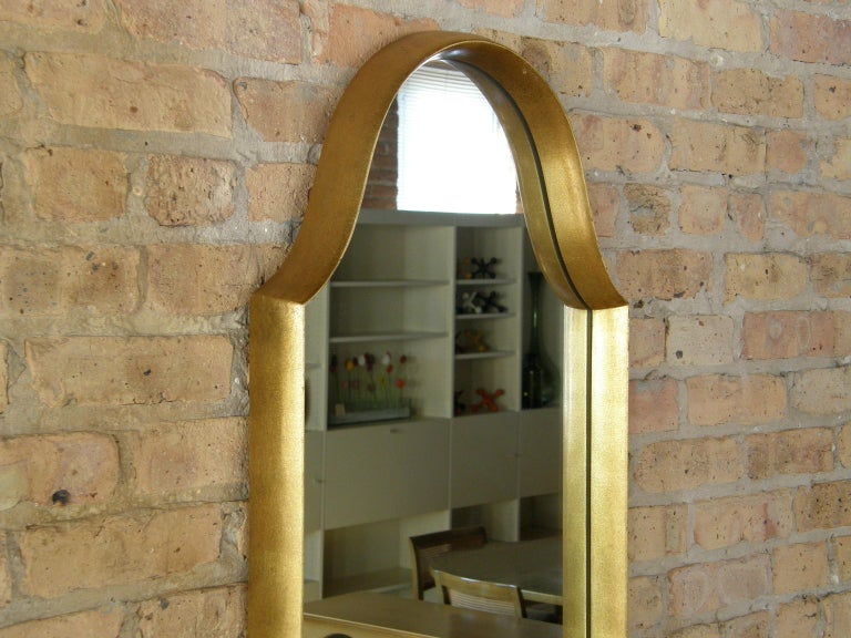 Rectangular Giltwood Wall Mirror with Arched Top For Sale 3