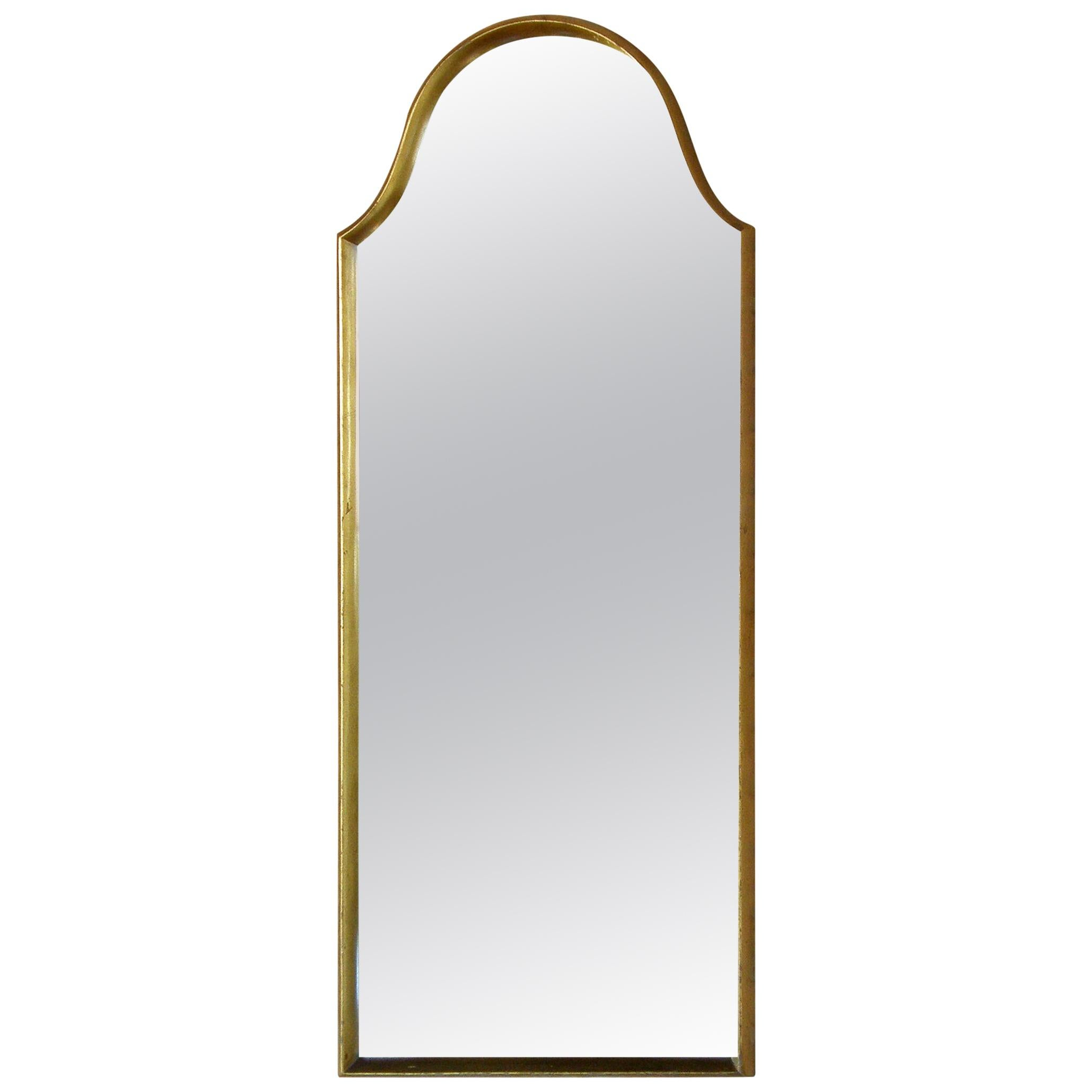 Rectangular Giltwood Wall Mirror with Arched Top
