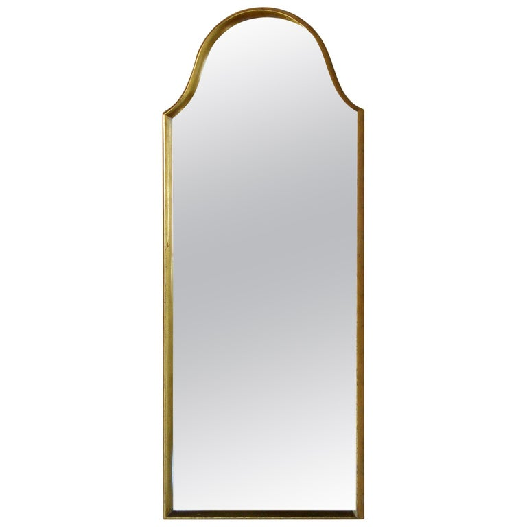 Rectangular Giltwood Wall Mirror with Arched Top For Sale