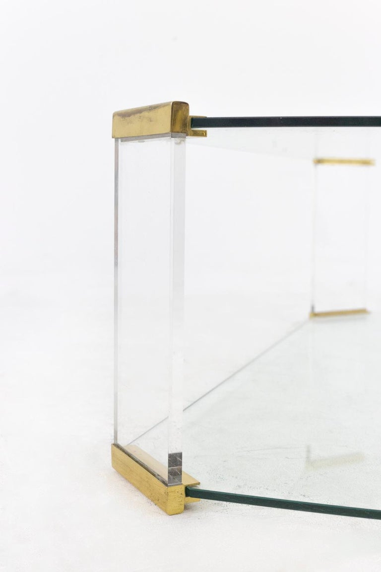 Rectangular Glass and Bronze Coffee Table, 1970 In Good Condition For Sale In Saint-Ouen, FR