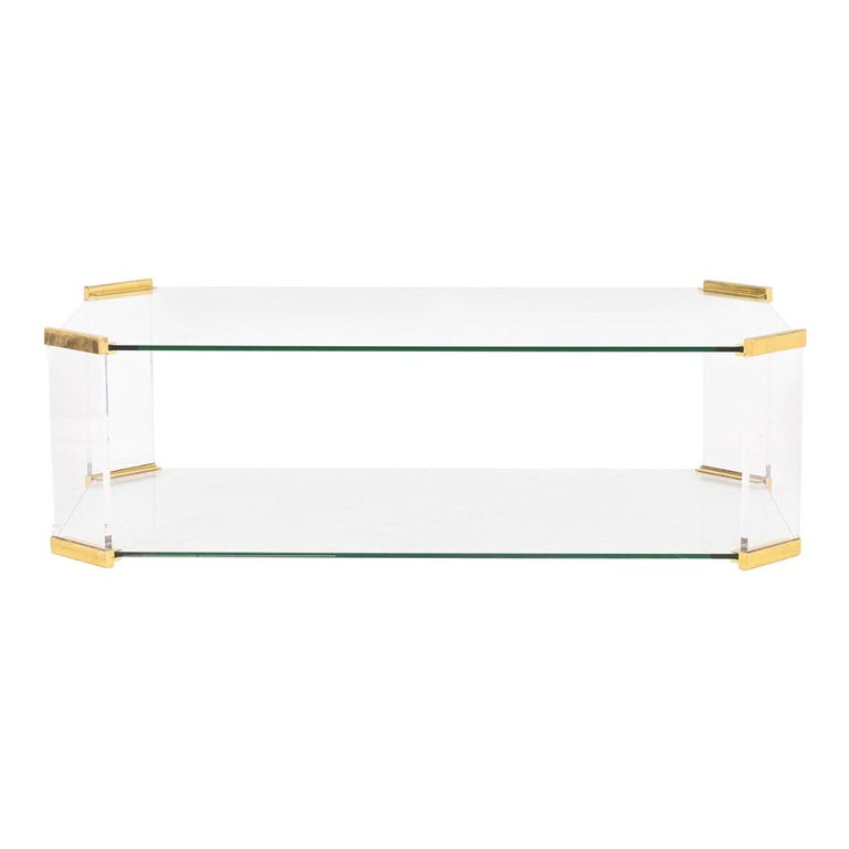 Rectangular Glass and Bronze Coffee Table, 1970 For Sale