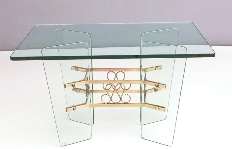 Brass Rectangular Glass Coffee Table by Pietro Chiesa for Fontana Arte, Italy For Sale