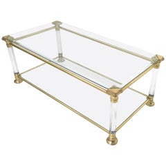 Rectangular Glass Coffee Table with Brass and Plexiglass Frame, Italy, 1980s