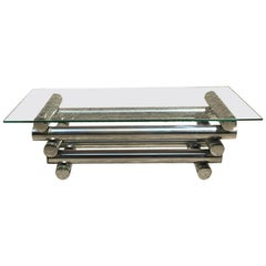 Rectangular Glass Coffee Table with Chromed Steel, 1970s
