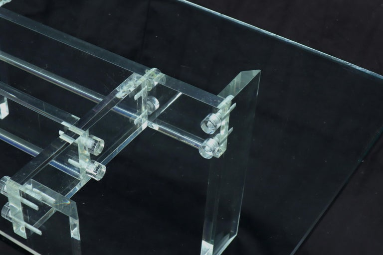 Rectangular Glass top Lucite Base Coffee Table For Sale 4