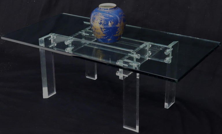 Rectangular Glass top Lucite Base Coffee Table For Sale 6