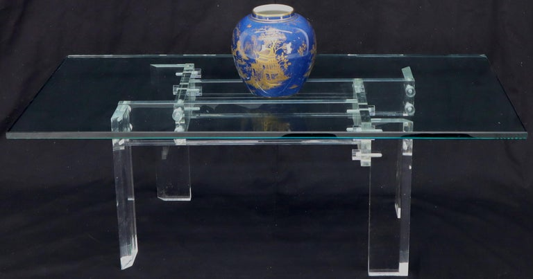 Rectangular Glass top Lucite Base Coffee Table For Sale 7