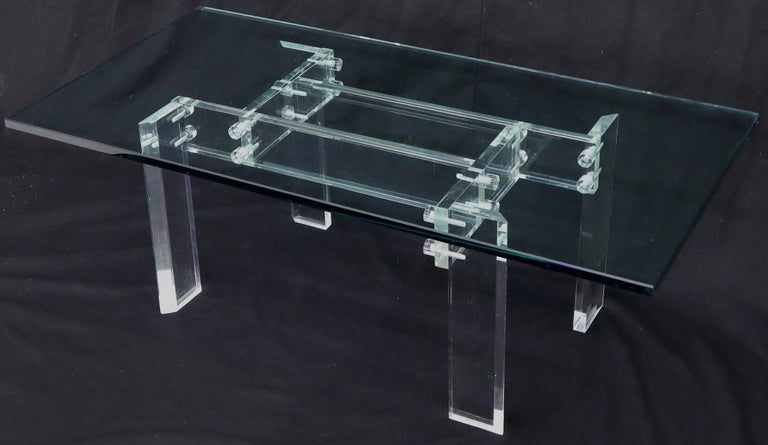 Mid-Century Modern Rectangular Glass top Lucite Base Coffee Table For Sale