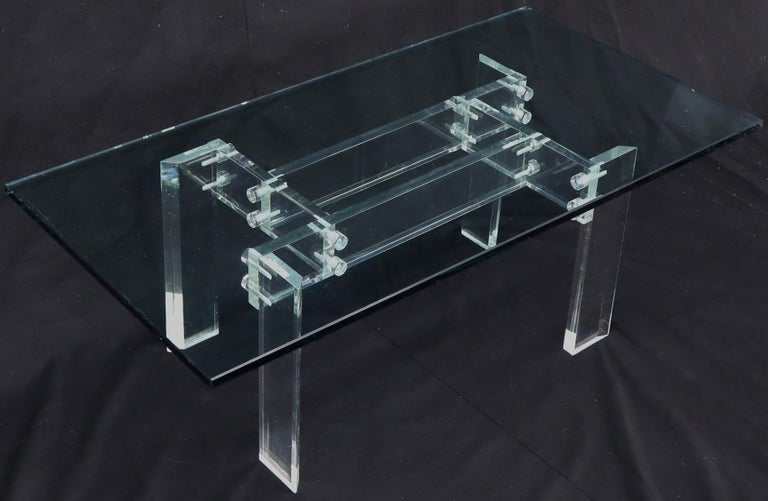 20th Century Rectangular Glass top Lucite Base Coffee Table For Sale
