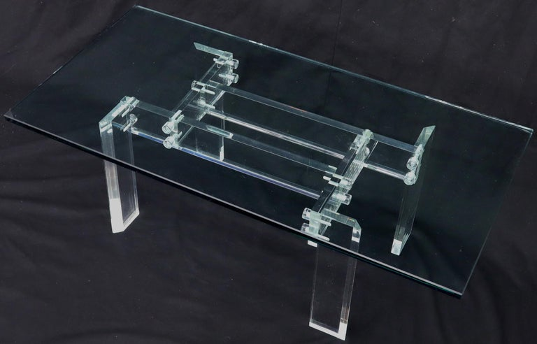 Rectangular Glass top Lucite Base Coffee Table For Sale 1