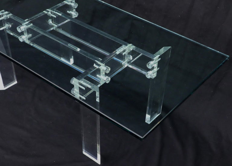Rectangular Glass top Lucite Base Coffee Table For Sale 2