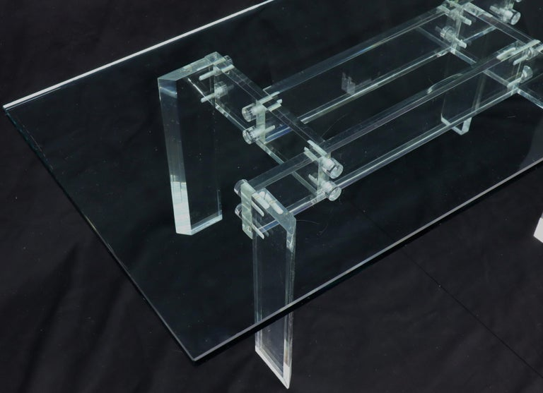 Rectangular Glass top Lucite Base Coffee Table For Sale 3