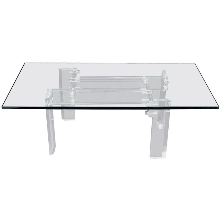 Rectangular Glass top Lucite Base Coffee Table For Sale