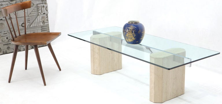 Rectangular Glass Top Travertine Base Coffee Table For Sale 5