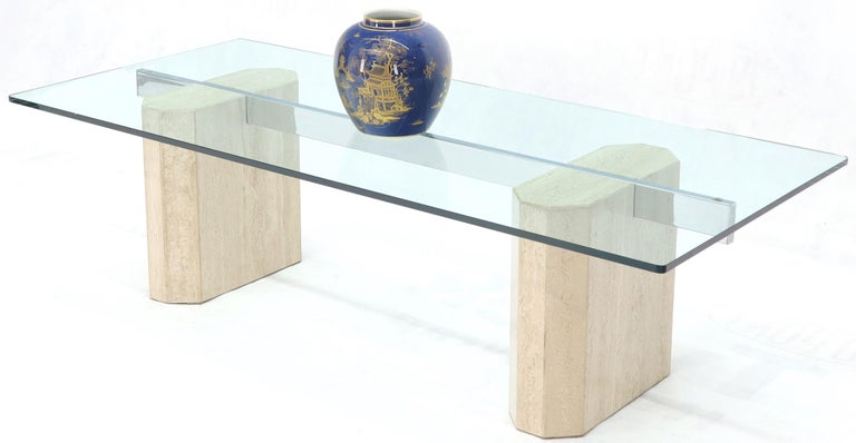 Mid-Century Modern Rectangular Glass Top Travertine Base Coffee Table For Sale