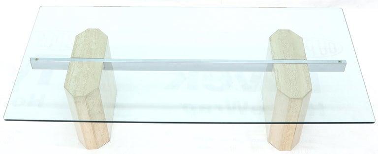 Italian Rectangular Glass Top Travertine Base Coffee Table For Sale