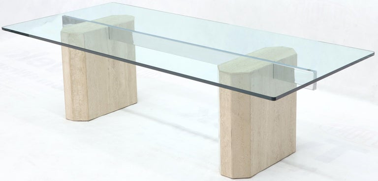 Rectangular Glass Top Travertine Base Coffee Table In Excellent Condition For Sale In Rockaway, NJ