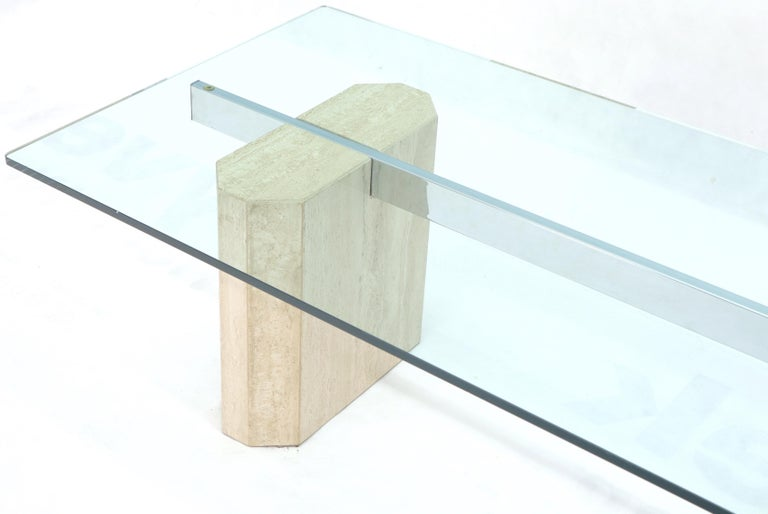 20th Century Rectangular Glass Top Travertine Base Coffee Table For Sale