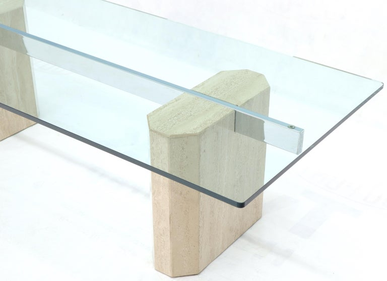 Rectangular Glass Top Travertine Base Coffee Table For Sale 1