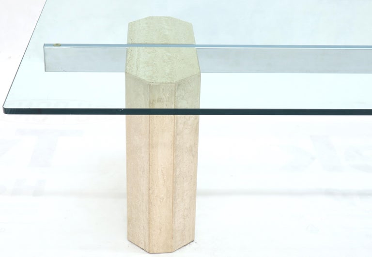 Rectangular Glass Top Travertine Base Coffee Table For Sale 2