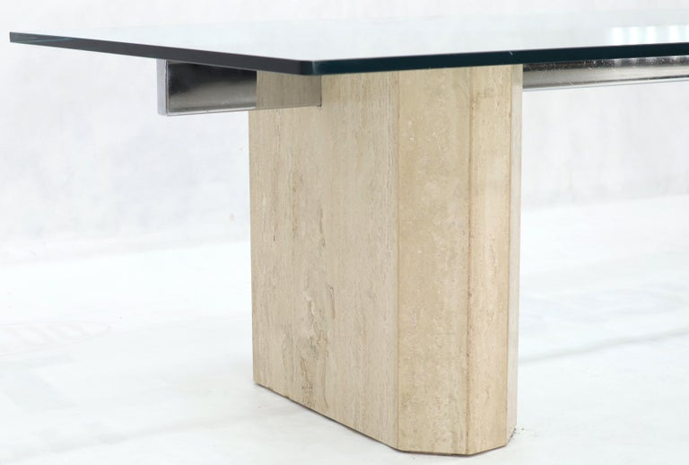 Rectangular Glass Top Travertine Base Coffee Table For Sale 3