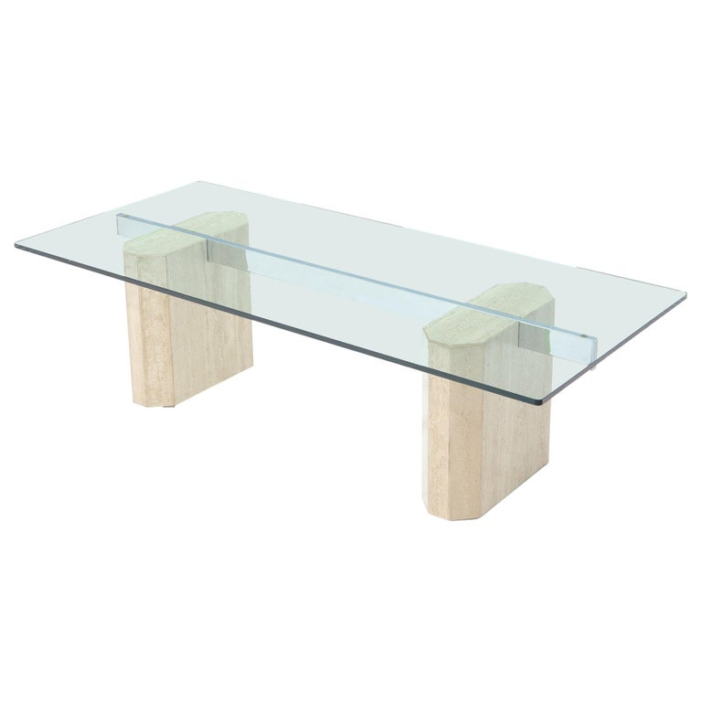 Rectangular Glass Top Travertine Base Coffee Table For Sale