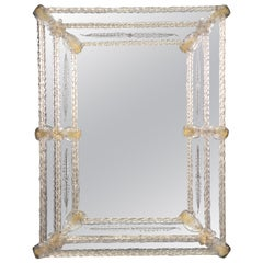 Rectangular Handmade Italian Murano Glass Wall Mirror circa 1960s Era