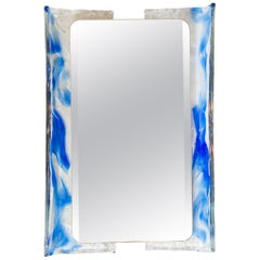 Rectangular Illuminated Mirror with Clear and Blue Murano Glass Surround